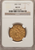 Liberty Eagles: , 1853 $10 AU53 NGC. NGC Census: (84/334). PCGS Population (47/87).Mintage: 201,253. Numismedia Wsl. Price for problem free ...