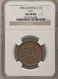 Large Cents, 1856 1C Slanted 5 AU58 NGC. N-2. This coin includes: A OriginalFlip. NGC Census: (108/643). PCGS Population (41/270). Min...