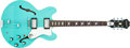 Musical Instruments:Electric Guitars, Modern Epiphone Riviera Blue Semi-Hollow Electric Guitar #187637....