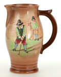 Ceramics & Porcelain, British:Modern  (1900 1949)  , A ROYAL DOULTON KINGSWARE PITCHER WITH POLYCHROME GOLF SCENE .Royal Doulton, Lambeth, England, circa 1940. Marks: Royal...