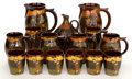 Ceramics & Porcelain, British:Modern  (1900 1949)  , A FIFTEEN PIECE ROYAL DOULTON KINGSWARE BEVERAGE SERVING SET .Lambeth, England, from 1902. Marks to pitchers and jug: Roy...(Total: 15 Items)