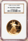 Modern Bullion Coins: , 1988-W G$50 One-Ounce Gold Eagle PR70 Ultra Cameo NGC. NGC Census:(865). PCGS Population (189). Mintage: 87,133. Numismedi...