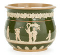 Ceramics & Porcelain, British:Modern  (1900 1949)  , A COPELAND EARTHENWARE CACHE POT WITH GOLFING SCENE ON GREEN GROUND. Copeland, Shropshire, England, circa 1900. Marks impre...