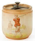Ceramics & Porcelain, A LIDDED EARTHENWARE GOLF THEME TOBACCO JAR. Probably English, circa 1900. Marks: S.F. & Co., X550, V. 5-1/8 inches high...