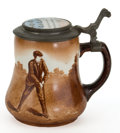Ceramics & Porcelain, American:Modern  (1900 1949)  , AN O'HARA DIAL CO POTTERY STEIN WITH TRANSFER PRINTED GOLF SCENEAND INLAID PEWTER LID . Waltham, Massachusetts, circa 1900...
