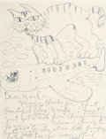 Post-War & Contemporary:Contemporary, PHILIP GUSTON (American, 1913-1980). Cat on Plane, 1973. Penand ink on paper. 11-1/2 x 8-1/2 inches (29.2 x 21.6 cm). S...(Total: 2 Items)