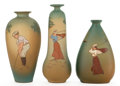 Ceramics & Porcelain, American:Modern  (1900 1949)  , A GROUP OF THREE GOLF THEME DICKENS WARE WELLER POTTERY VASES .Zanesville, Ohio, circa 1900. Marks: DICKENS WARE WELLER, ...(Total: 3 Items)
