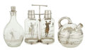 Decorative Arts, British:Other , A GLASS AND SILVER PLATED GOLF THEME DECANTER SET, WATER PITCHERAND DECANTER . Probably English, circa 1900. Marks dimpled ...(Total: 8 Items)