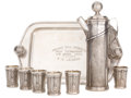Silver Holloware, American:Other , A GEORGE H. BERRY DESIGNED DERBY SILVER CO. SILVER PLATED GOLF-BAGFORM MARTINI PITCHER AND SIX CUPS WITH TRAY . Derby (Birm...(Total: 9 Items)