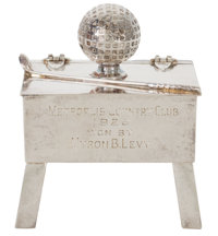 GEORGE H. BERRY DESIGNED DERBY SILVER CO. SILVER-PLATED GOLFING FIGURAL TROPHY Derby (Birmingham), Connecticut, c