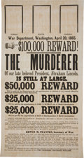Political:Posters & Broadsides (pre-1896), Abraham Lincoln: John Wilkes Booth Assassination Broadside....