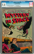 Golden Age (1938-1955):Science Fiction, Mystery in Space #7 (DC, 1952) CGC VF- 7.5 Off-white to whitepages....