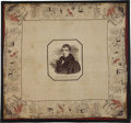 Political:3D & Other Display (pre-1896), William Henry Harrison: One of the Most Desirable Silk Bandanna Designs for This Ninth President....
