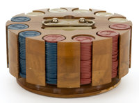 A Cased Golfing Poker Set Probably American, circa 1940 5-1/2 x 9-1/2 inches diameter (14.0 x 24.1 cm)