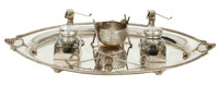 SILVER-PLATED TRAY FITTED WITH GOLFING THEMED OBJECTS American, circa 1940 4 x 21 x 14-1/4 inches (10.2 x 53.3