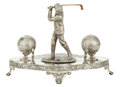 Silver Smalls:Other , A JAMES DEAKIN & SONS SILVER PLATED FIGURAL GOLFING DESK STAND.Sheffield, England, circa 1900. Marks: JAMES DEAKIN &SONS...
