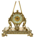Decorative Arts, British:Other , A BRITISH UNITED CLOCK CO. BRASS CLOCK WITH GOLF CLUBS AND BALL .Birmingham, England, circa 1910. Marks: PAT'D IN GREAT B...