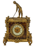 Decorative Arts, British:Other , A BRITISH UNITED CLOCK CO. GILT METAL AND FAUX TORTOISESHELLGOLFING THEME CLOCK . Birmingham, England, circa 1900. Marks: ...