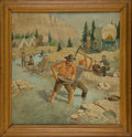 "Western Expansion:Goldrush, California Gold Miners: An Appealing ""Illustration Art"" Type Unsigned Oil Painting, Probably Circa 1920s-1930s. ..."