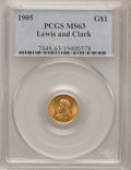 Commemorative Gold: , 1905 G$1 Lewis and Clark MS63 PCGS. PCGS Population (452/956). NGCCensus: (208/568). Mintage: 10,000. Numismedia Wsl. Pric...