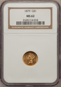 Gold Dollars: , 1879 G$1 MS62 NGC. NGC Census: (30/125). PCGS Population (22/186).Mintage: 3,000. Numismedia Wsl. Price for problem free N...