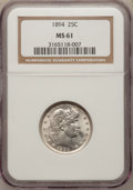 Barber Quarters: , 1894 25C MS61 NGC. NGC Census: (10/113). PCGS Population (7/128).Mintage: 3,432,972. Numismedia Wsl. Price for problem fre...
