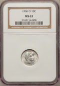 Barber Dimes: , 1906-O 10C MS63 NGC. NGC Census: (14/78). PCGS Population (31/87).Mintage: 2,610,000. Numismedia Wsl. Price for problem fr...