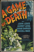 "Movie Posters:Horror, A Game of Death (RKO, 1945). One Sheet (25.5"" X 38.5""). Horror....."