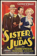 "Movie Posters:Drama, Sister to Judas (Mayfair Pictures, 1932). One Sheet (27"" X 41""). Drama.. ..."