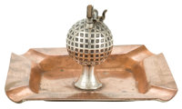 BLACK, STARR & FROST SILVER AND COPPER GOLFING PRESENTATION SMOKING TRAY WITH LIGHTER New York, New York, circa 19...