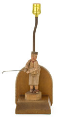 Lighting:Lamps, A CARVED AND PAINTED GOLFING FIGURAL LAMP . Unknown maker, circa 1930. 9-1/2 inches to top of figure (24.1 cm). ...