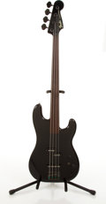 Musical Instruments:Bass Guitars, 1984-87 Fender Jazz Fretless Black Electric Bass Guitar #E840542....