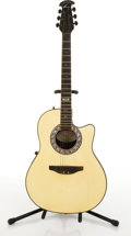 Musical Instruments:Acoustic Guitars, Ovation 568 Ivory Electric Acoustic Guitar #N/A....