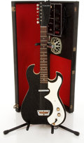 Musical Instruments:Electric Guitars, 1960s Silvertone 1448 Black Electric Guitar With Amplifier Case #185.10010.. ...