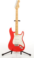 Musical Instruments:Electric Guitars, 2001/2 Fender American Stratocaster Red Electric Guitar #Z1016492....
