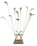 Silver Holloware, American:Other , A SILVER PLATED GOLF THEME HAT PIN STAND WITH ELEVEN ASSORTED GOLFCLUB-FORM HAT PINS. Marks: EP. 11-3/4 inches high (29...(Total: 12 Items)