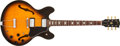 Musical Instruments:Electric Guitars, 1976 Gibson ES-335 Sunburst Semi-Hollow Electric Guitar, #00107906....