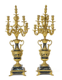 A PAIR OF FRENCH LOUIS XV STYLE MARBLE AND GILT BRONZE NINE-LIGHT CANDELABRA Cast by Barbedienne Fonduer, Paris
