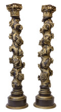 Decorative Arts, Continental:Other , A PAIR OF CARVED ITALIAN BAROQUE STYLE WOOD COLUMNS . Unknownmaker, probably Italian, circa 1920-1940. Unmarked. 97 inches ...(Total: 2 Items)