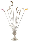 Silver Holloware, American:Other , THE SILVER GOLF BALL-FORM HAT PIN HOLDER WITH THIRTEEN ASSORTED HATPINS . Sydney & Co., Birmingham, England, circa 1909-191...(Total: 14 Items)