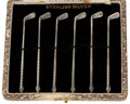 Silver Flatware, American:Other , CASED SET OF SIX AMERICAN GOLF CLUB-FORM STIRRING STICKS . Circa1950. Marks: STERLING SILVER. 3-1/2 inches long (8.9 cm...(Total: 7 Items)