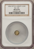 California Fractional Gold, 1854 25C Liberty Octagonal 25 Cents, BG-105, R.3, MS65 ProoflikeNGC....