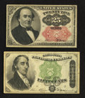 Fractional Currency:Fifth Issue, Fr. 1309 25¢ Fifth Issue. Fr. 1379 50¢ Fourth Issue Dexter.. ... (Total: 2 notes)