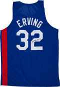 Baseball Collectibles:Uniforms, Julius Erving Signed Jersey....