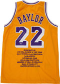"Basketball Collectibles:Uniforms, Elgin Baylor ""Upper Deck Authenticated"" Signed Jersey...."