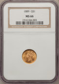 Gold Dollars, 1889 G$1 MS66 NGC....