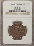 Large Cents, 1839 1C Booby Head MS61 Brown NGC. N-13, R.2....
