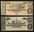 Confederate Notes:1864 Issues, T67 $20 1864. T68 $10 1864.. ... (Total: 2 notes)