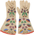 "Entertainment Collectibles, William F. ""Doc"" Carver: A Colorful Pair of Beaded Buckskin Gauntlets Worn By Him in His Performing Days.... (Total: 2 Items)"