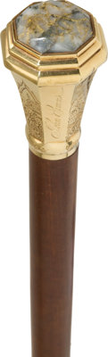 Early California: An Important 1856-Dated Gold and Gold Quartz Topped Presentation Walking Stick